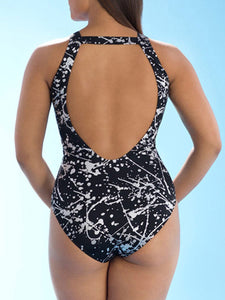 Plus Size Black Printed One Piece