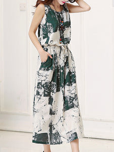 Round Neck  Drawstring Patch Pocket  Printed Maxi Dress
