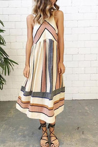 Bohemian Round Neck  Striped  Sleeveless Maxi Dresses
