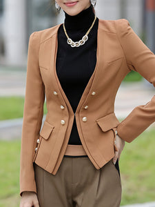 Double Breasted  Plain  Long Sleeve Blazers