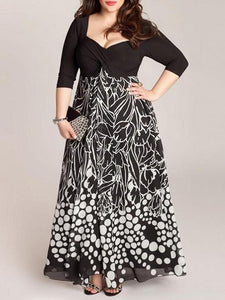 V-Neck  Printed Plus Size Midi & Maxi Dresses