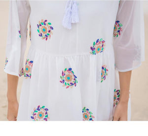 Mom Girl White Chiffon Embroidered Fashion Speaker Sleeve Dress