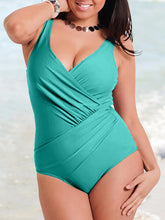 V-Neck  Plain Plus Size Beachwear