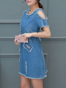 Round Neck  Beading Shift Dress