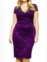 V-Neck  Lace Plain Plus Size Bodycon Dresses