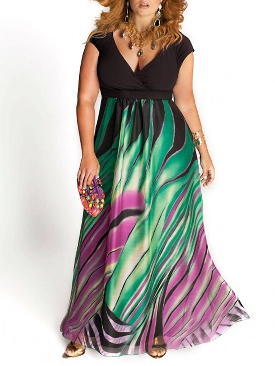Deep V-Neck  Asymmetric Stripe Plus Size Midi & Maxi Dresses
