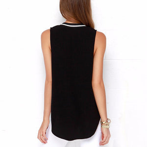 Sexy Deep V Collar Sleeveless T-Shirt With Plus Size