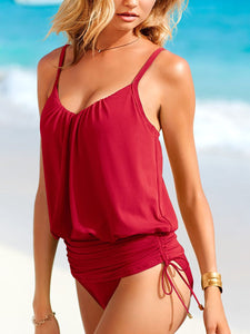 Belt Loops  Plain  Sleeveless One Piece