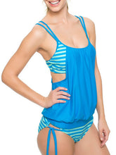 Crew Neck  Backless  High Stretch  Striped One Piece