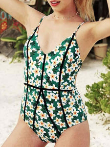 2018 Sexy Swimwear Women Floral Printed One Piece Swimsuit Female Strap Halter Swim Wear Padded Bathing Suits