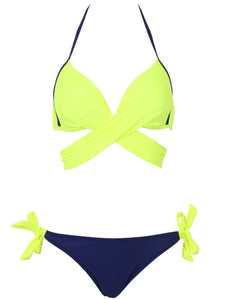 2018 Sexy Bikini Women Swimsuit Push Up Swimwear Criss Cross Bandage Halter Bikini