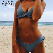 Lovely Ruffle Plain Bikini Set Swimwear