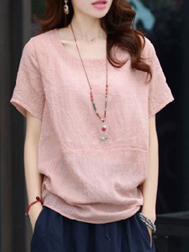 Spring Summer  Linen  Women  Round Neck  Patchwork  Plain Short Sleeve T-Shirts
