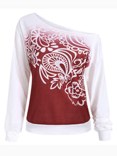 Autumn Spring  Cotton Blend  Open Shoulder  Abstract Print  Long Sleeve Sweatshirts