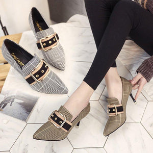Pointed Toe Plaid High Heel Shoes