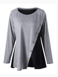 Round Neck  Plain  Long Sleeve Plus Size T-Shirts