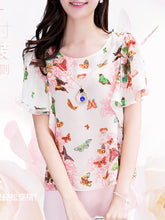 Spring Summer  Chiffon Polyester  Women  Round Neck  Asymmetric Hem  Floral Printed  Short Sleeve Blouses