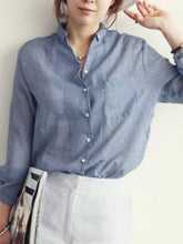 Spring Summer  Linen  Women  Turn Down Collar  Asymmetric Hem Patch Pocket Single Breasted  Plain  Long Sleeve Blouses