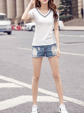 Summer  Cotton  Women  V-Neck  Plain Short Sleeve T-Shirts