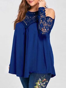 Open Shoulder  See-Through  Lace Plus Size T-Shirts
