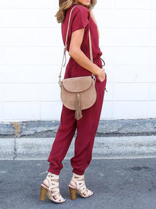 Women's New V-Neck Strappy Trousers