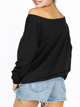 Autumn Spring  Polyester  Round Neck  Plain Printed  Long Sleeve Sweatshirts