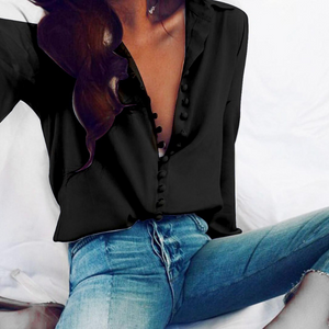 Sexy Loose Plain Lapel Long-Sleeved Shirt