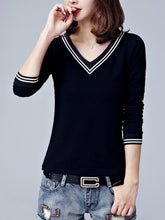 Autumn Spring  Cotton  Women  V-Neck  Plain Long Sleeve T-Shirts