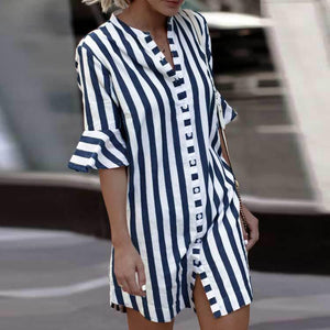 New Small Collar Trend Women's Striped Shirt