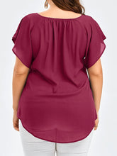 V-Neck  Plain  Short Sleeve Plus Size Blouses