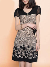 Round Neck  Patchwork  Printed Shift Dress