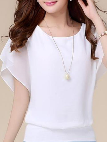 Summer  Cotton Polyester Spandex  Women  Round Neck  Plain  Short Sleeve Blouses