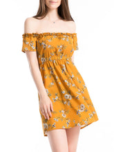Off Shoulder Elastic Waist Floral Printed Skater Dress