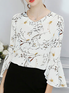 Spring Summer  Polyester  Women  V-Neck  Floral Printed  Bell Sleeve  Three-Quarter Sleeve Blouses