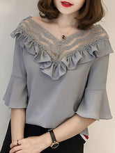 Spring Summer  Chiffon  Women  V-Neck  Bowknot Decorative Lace Flounce See-Through  Plain  Bell Sleeve  Half Sleeve Blouses