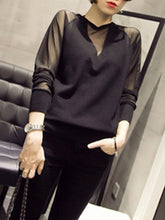 Round Neck  Patchwork  Patchwork Plain Long Sleeve T-Shirts