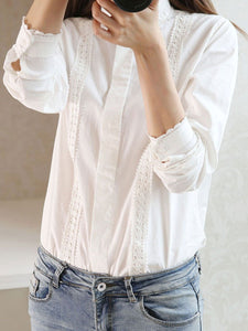 Autumn Spring  Cotton  Women  Decorative Lace  Plain  Long Sleeve Blouses