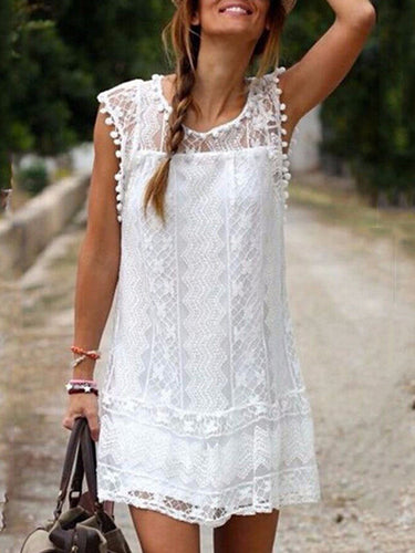 Round Neck  Patchwork  Lace Shift Dress