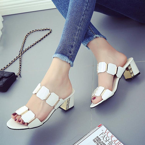 Elegant Thick Heels Ladies Sandals Shoes