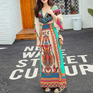 Bohemian V Collar Printing Beach Vacation Dress