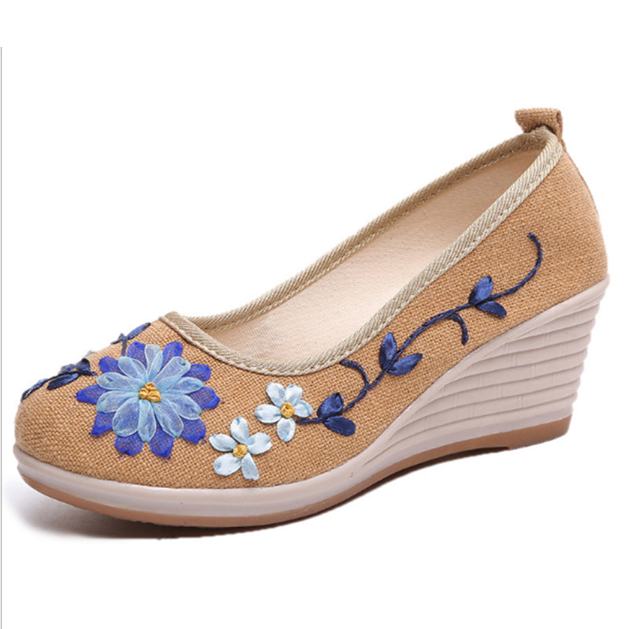 SOCOFY Embroidery Floral  High Heeled  Blend  Round Toe  Casual Pumps