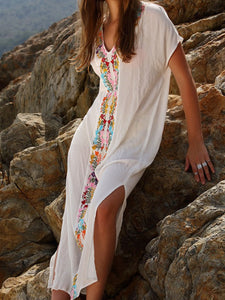 V-Neck  Slit  Printed Maxi Dresses