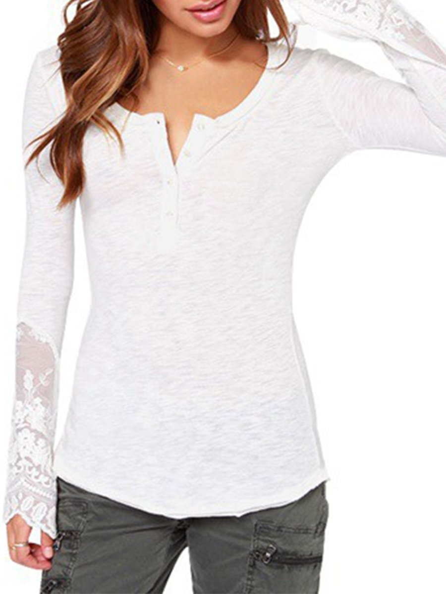 Round Neck  Decorative Lace  Patchwork Plain Blouses