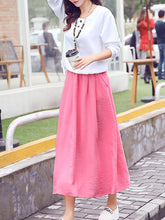 Round Neck  Patch Pocket  Color Block Maxi Dress