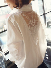 V Neck  Decorative Lace  Patchwork Plain Blouses