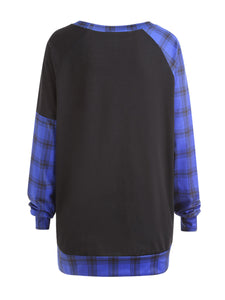 Autumn Spring  Cotton Blend  Round Neck  Plaid  Long Sleeve Sweatshirts
