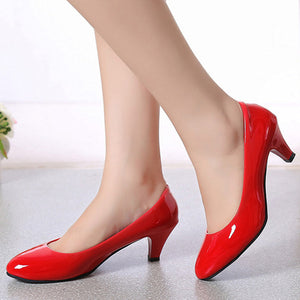 Plain  Stiletto  Low Heeled  Round Toe  Basic Formal Pumps