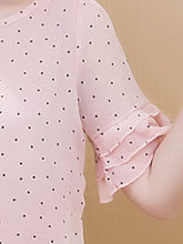 Spring Summer  Chiffon  Women  Round Neck  Polka Dot  Bell Sleeve  Short Sleeve Blouses