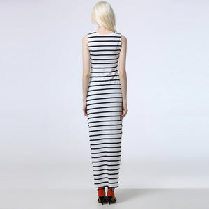 Classic Stripe Round Collar Sleeveless Vacation Dress