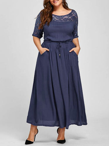 Round Neck  Plain Plus Size Midi & Maxi Dresses